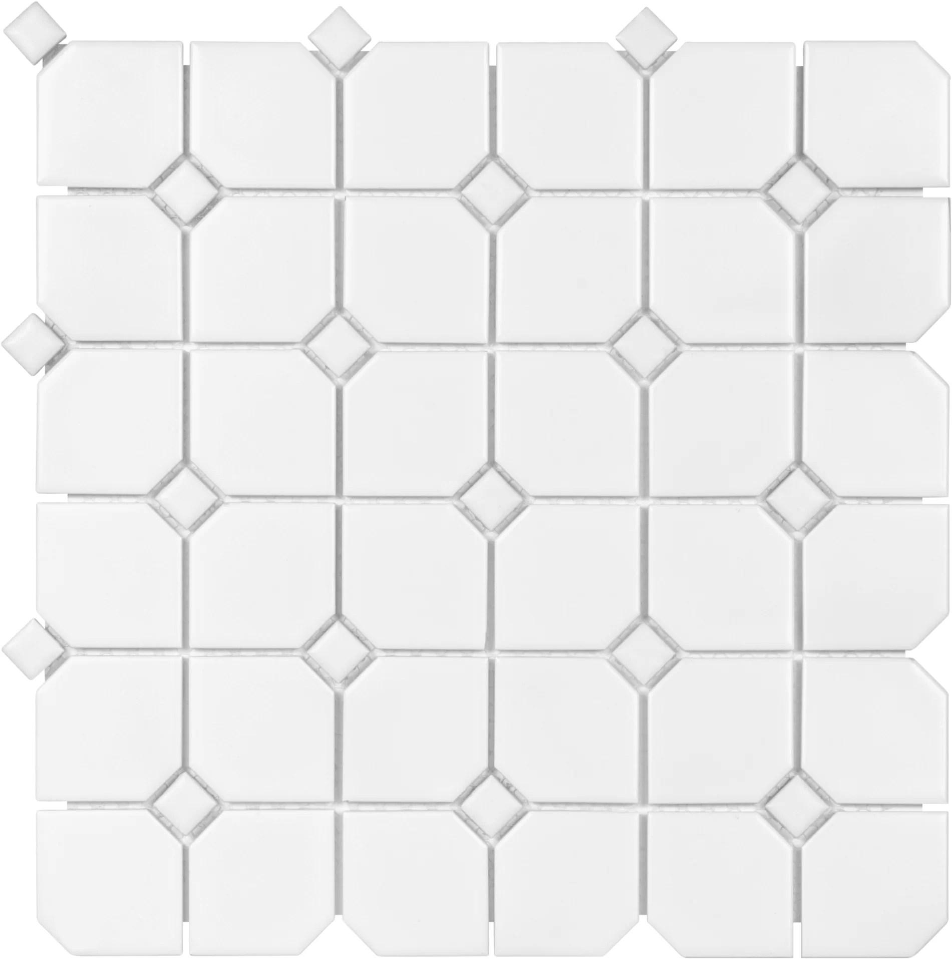 sail 2 x 2 ceramic porcelain mosaic tile in matte white