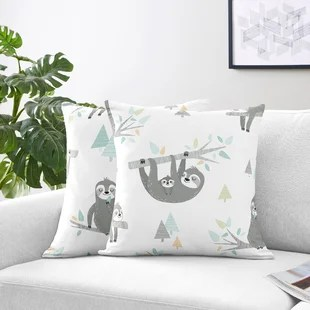 sloth square pillow cover insert set of 2