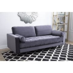 Velvet Grey Tufted Sofa Power Reclining Sets Charcoal Wayfair Ca Leela