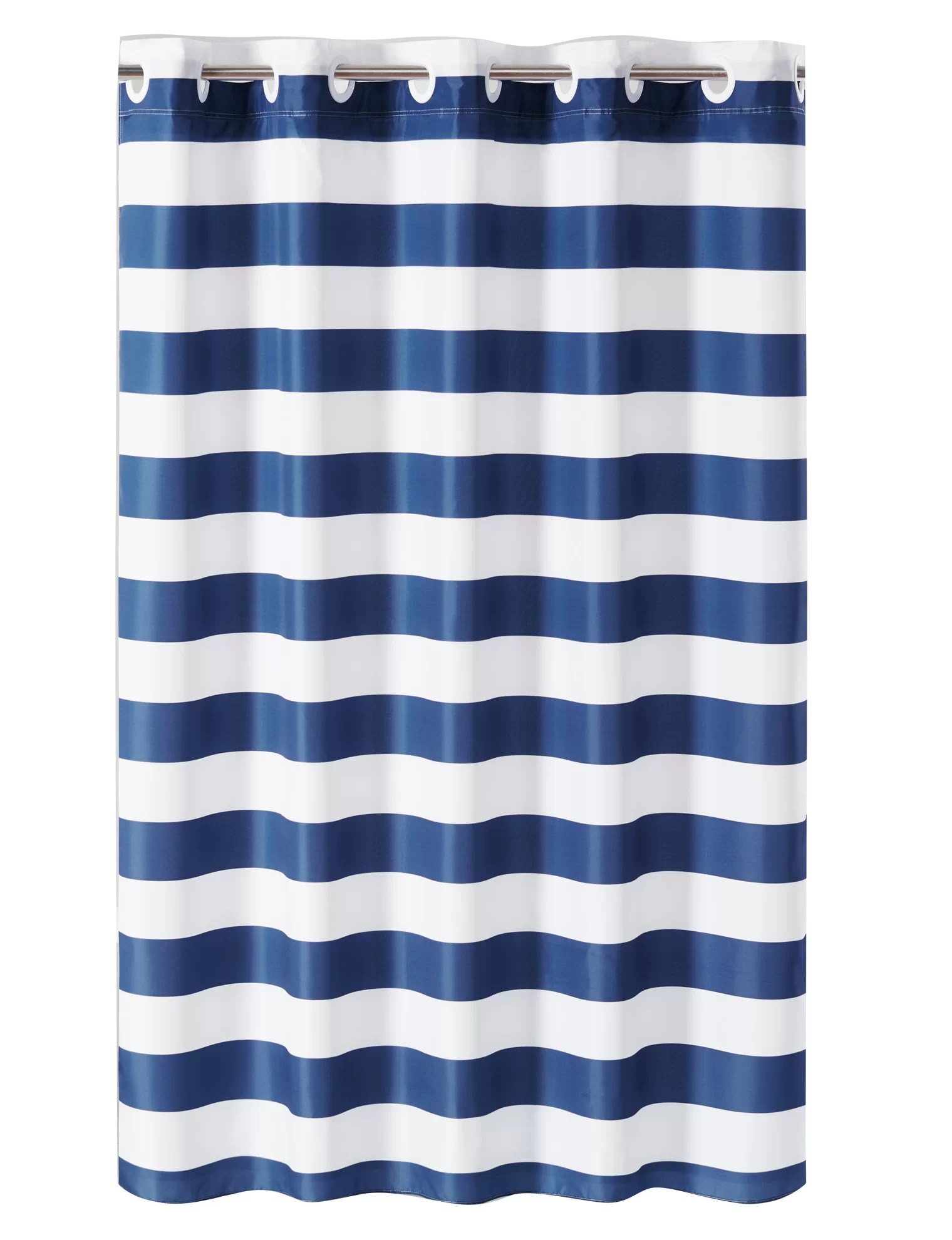 hookless shower curtain cabana stripe no window with liner navy