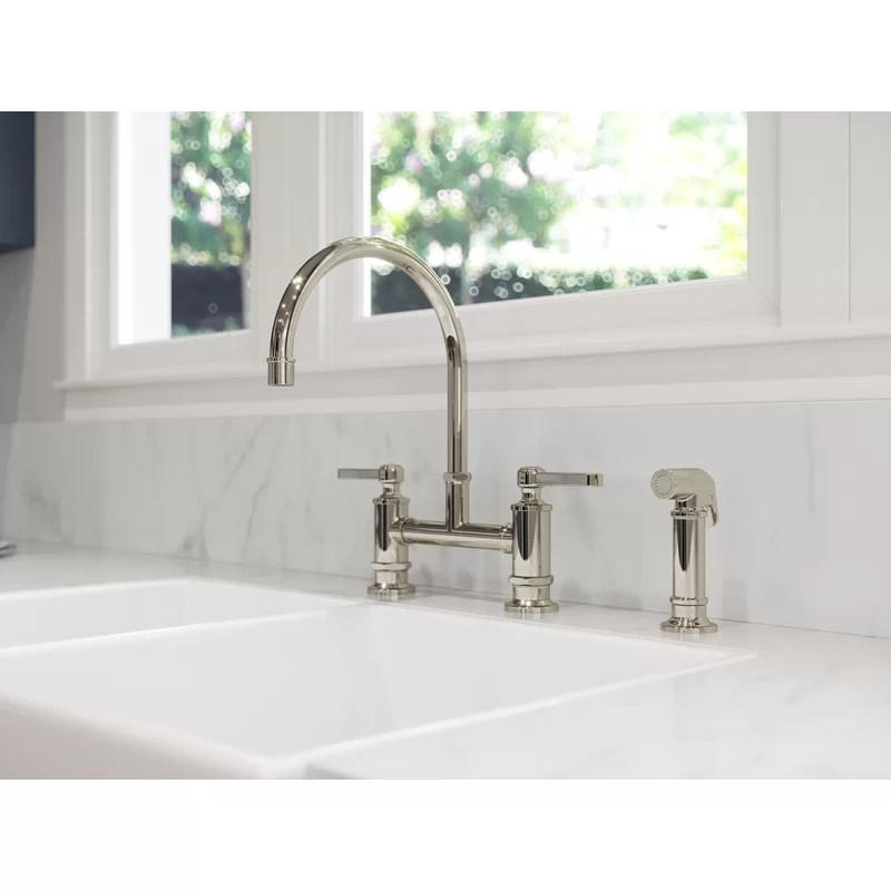 port haven kitchen bridge faucet with side spray