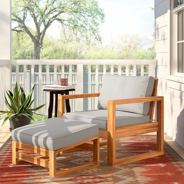 norris patio chair with cushion and ottoman