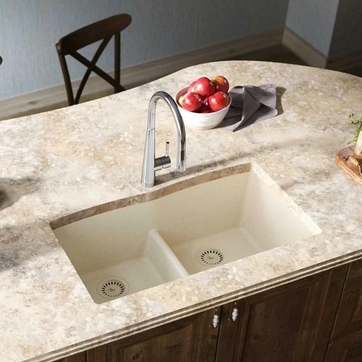 quartz luxe 33 l x 19 w double basin undermount kitchen sink with aqua divide