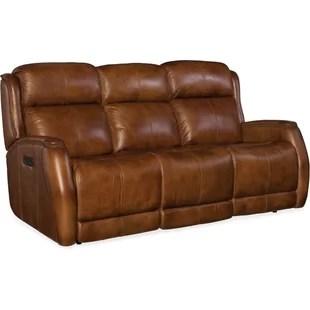 reclining sofa leather brown back pillow replacement tan wayfair emerson