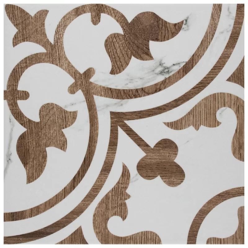loire 10 x 10 wood look porcelain wall floor tile