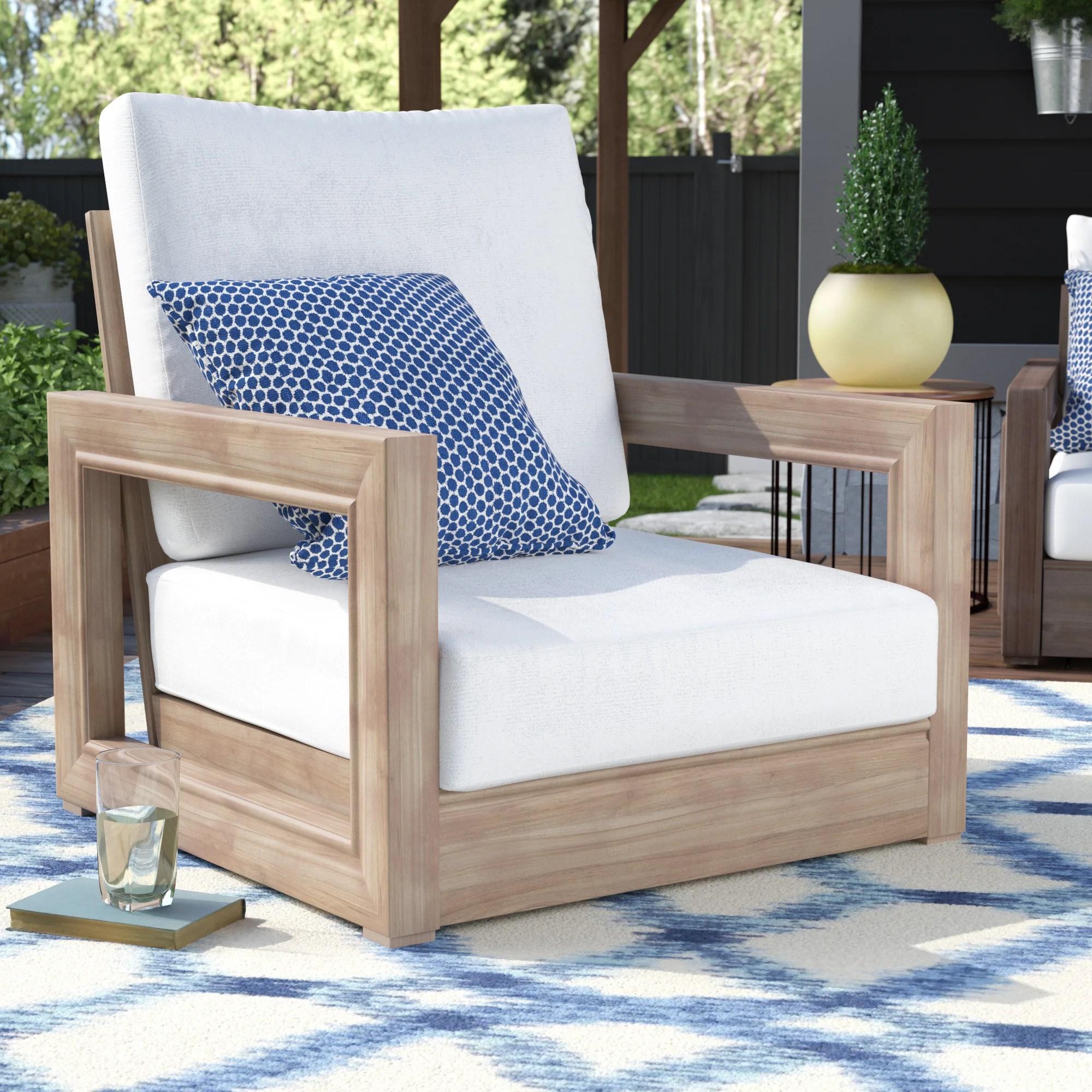patio club chair cheap kitchen table chairs brayden studio constance teak outdoor furniture with cushions wayfair