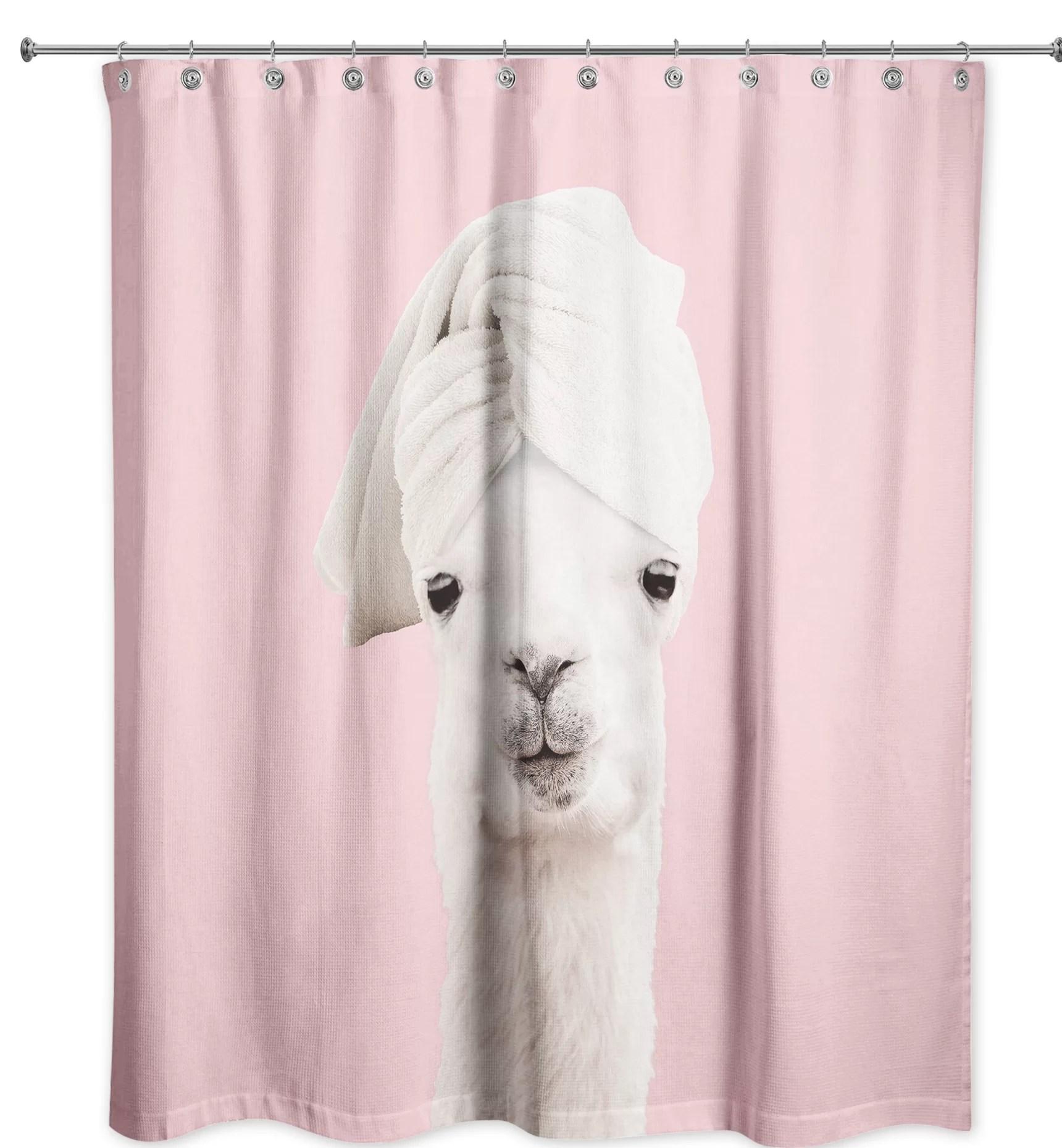 https www wayfair com bed bath pdp isabelle max iyanna pampered llama single shower curtain w001400905 html
