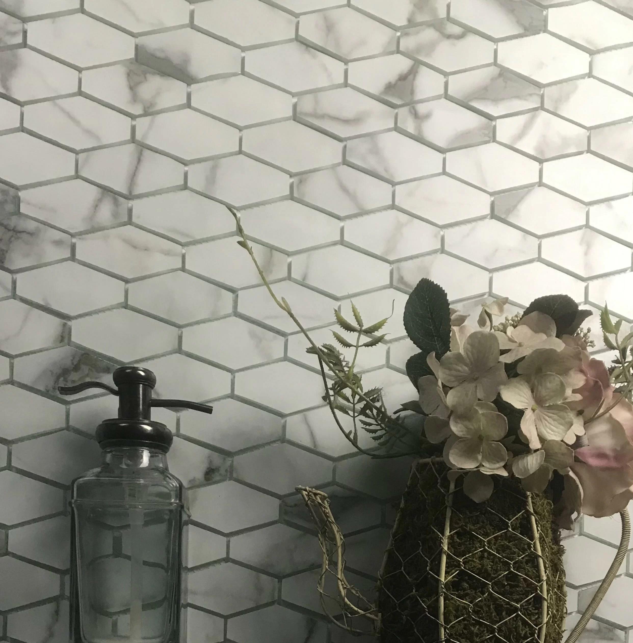 musico elongated hexagon 2 x 2 glass mosaic tile