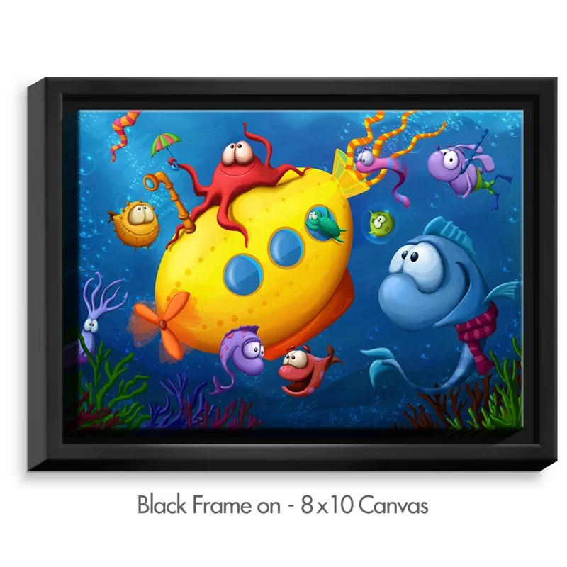 Sea Life by Tooshtoosh Painting Print on Wrapped Framed Canvas Size: 12.75 H x 15.75 W x 1.75 D Frame Color: Black