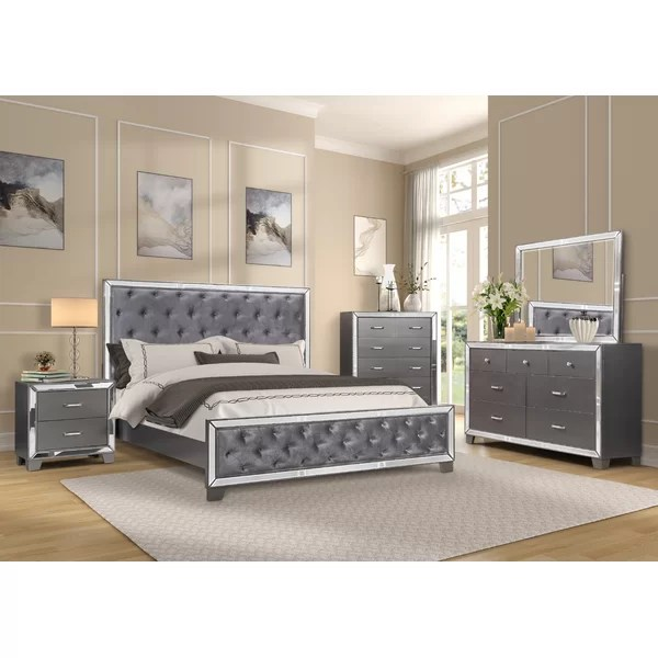 glass mirrored bedroom sets