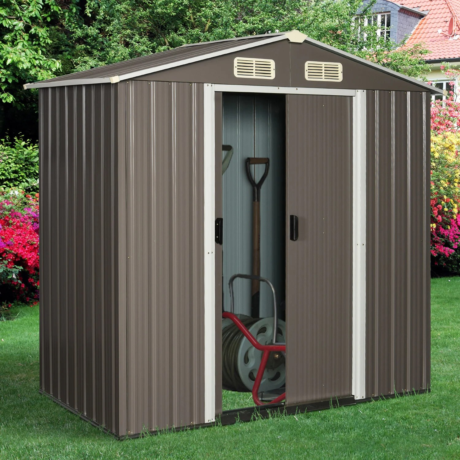 outsunny 6 3 x 3 6 x 6 garden storage shed outdoor patio yard metal tool storage house w double doors grey