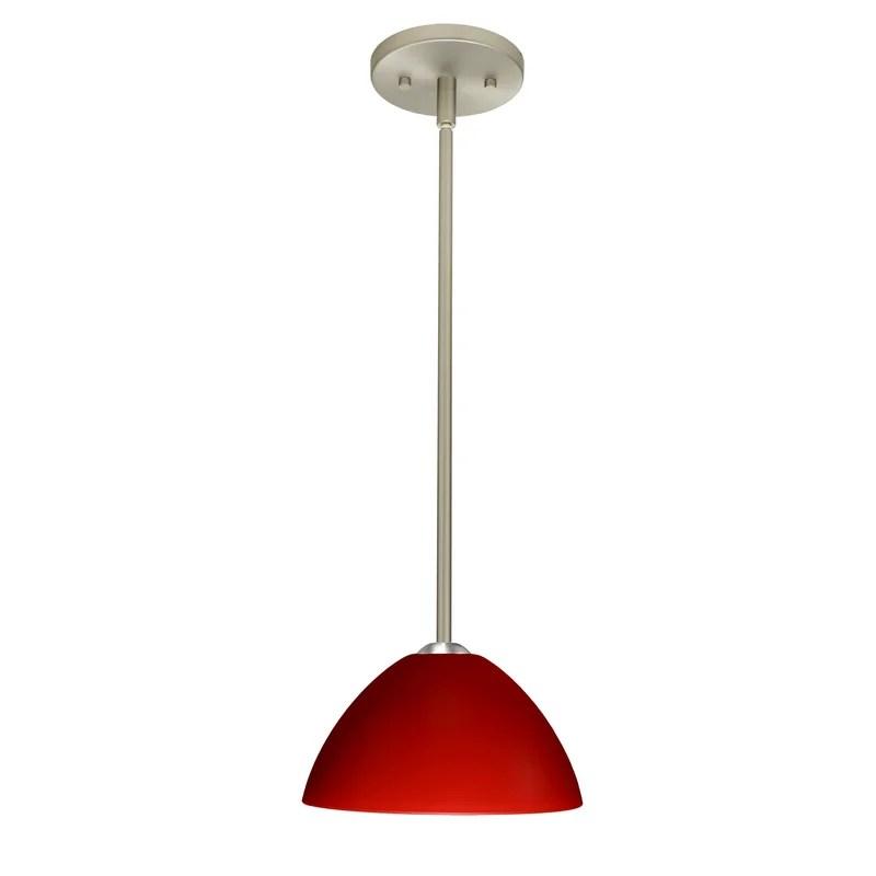 Tessa 1-Light Dome Pendant Finish: Satin Nickel Glass Shade: Red Matte Bulb Type: Incandescent