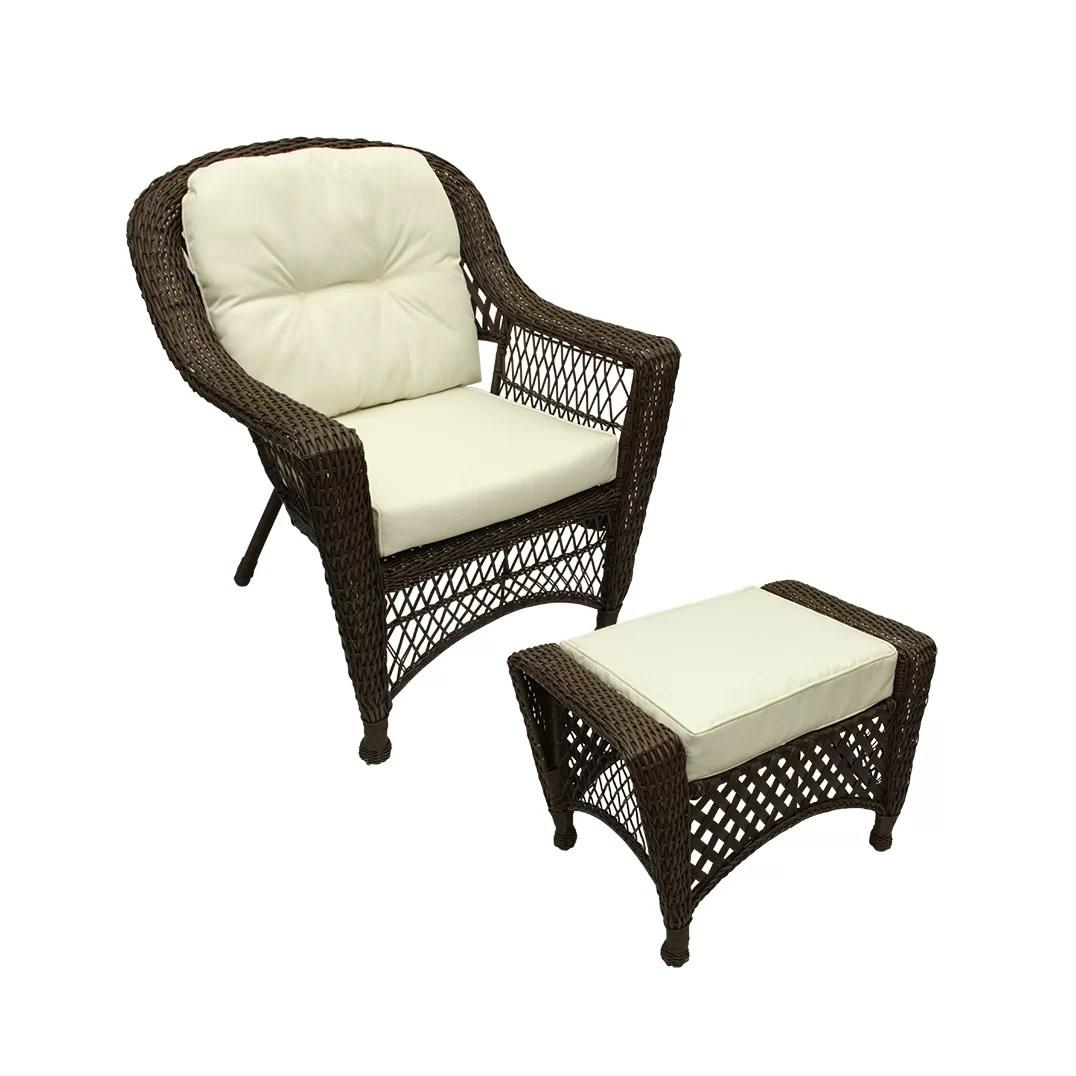 Northlight Somerset 2 Piece Resin Wicker Patio Chair and Ottoman Furniture Set  Wayfairca