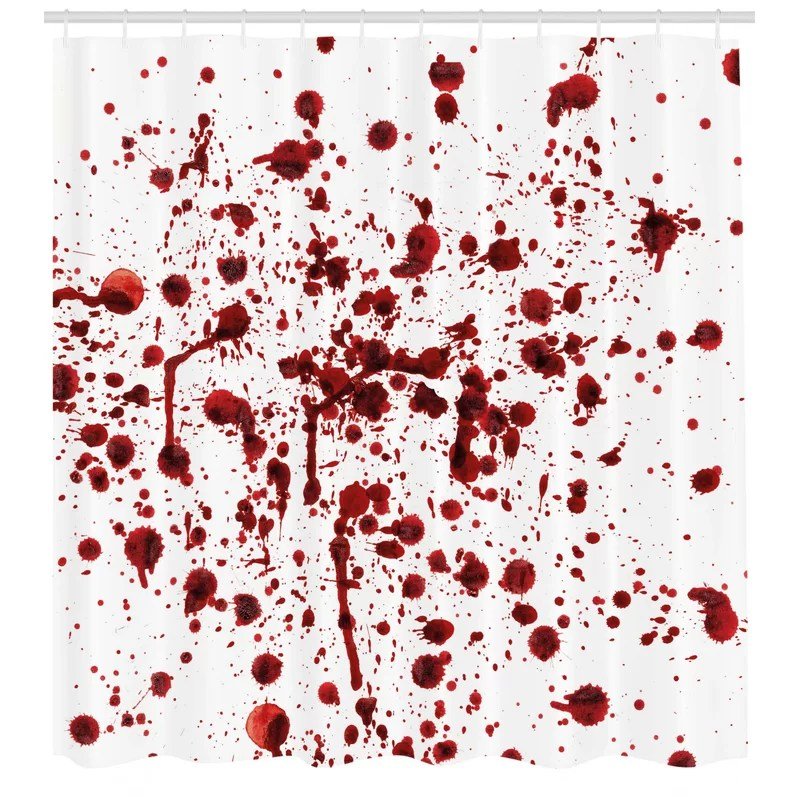 bloody splashes of blood scary shower curtain hooks