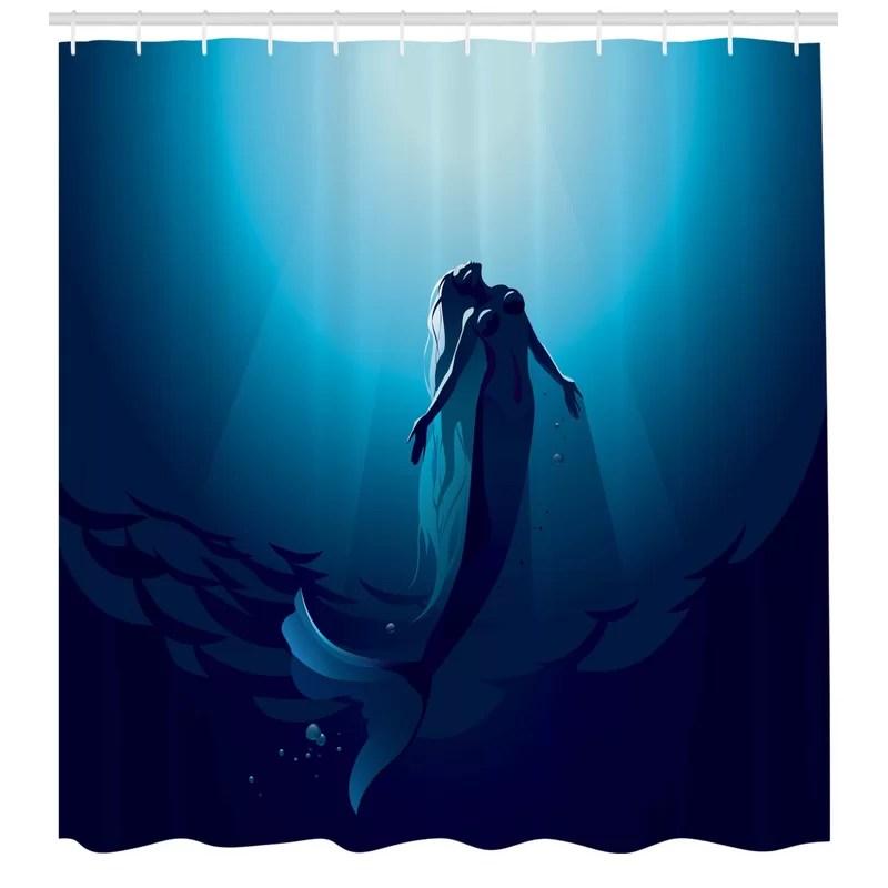 underwater shower curtain set hooks