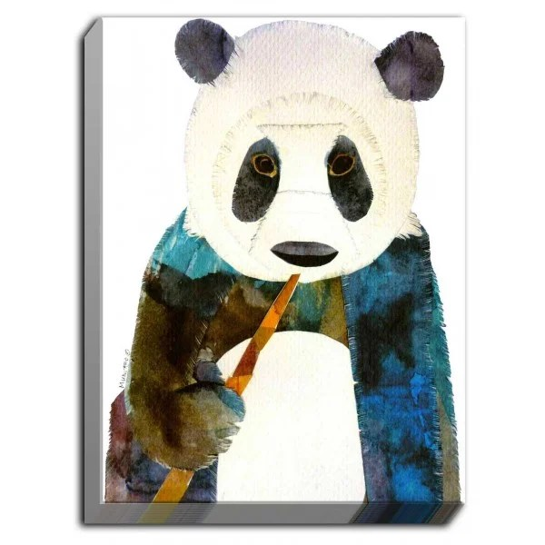 Panda by Marley Ungaro Painting Print on Wrapped Canvas Size: 40 H x 30 W x 1.5 D