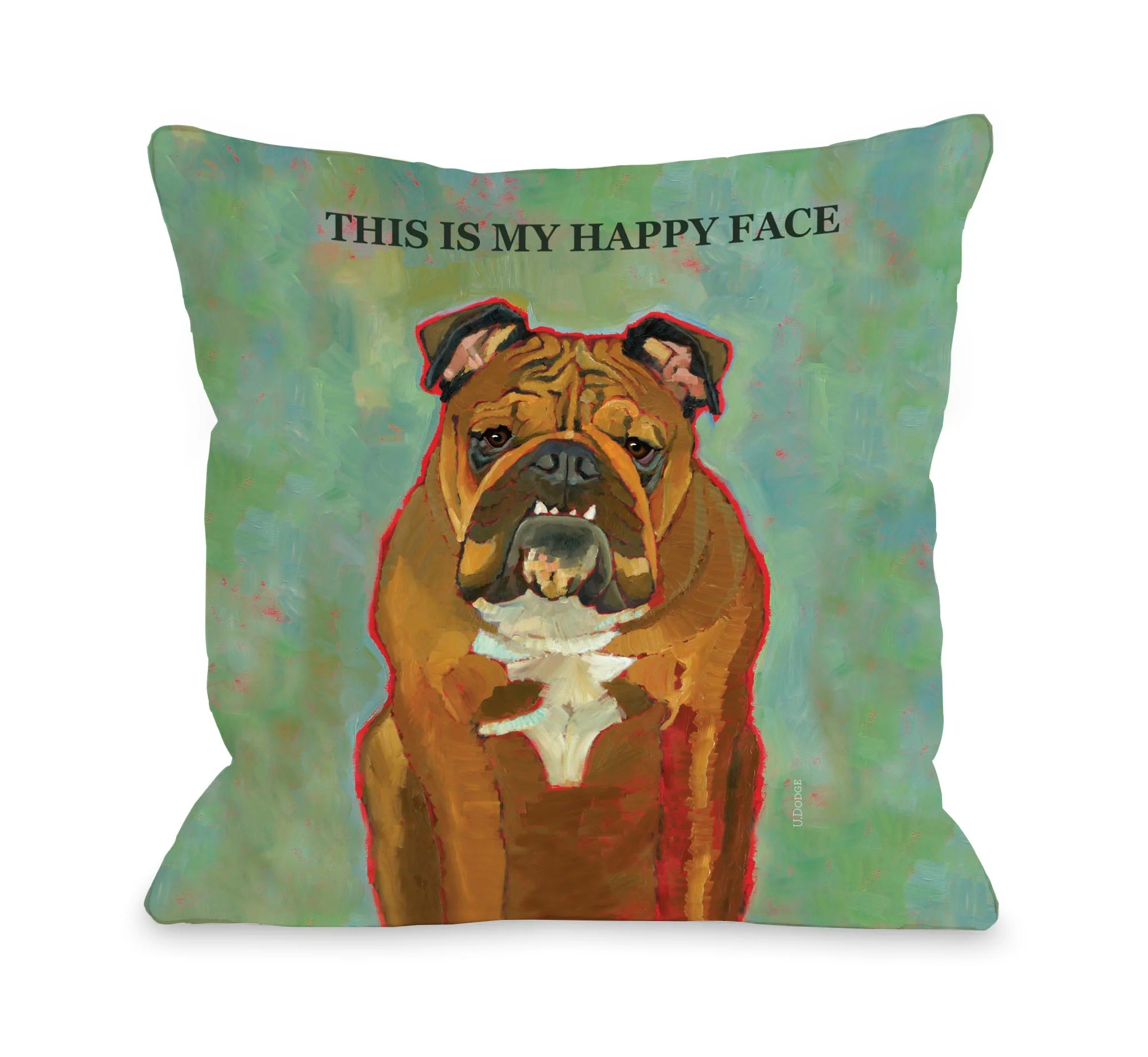 doggy decor this is my happy face throw pillow