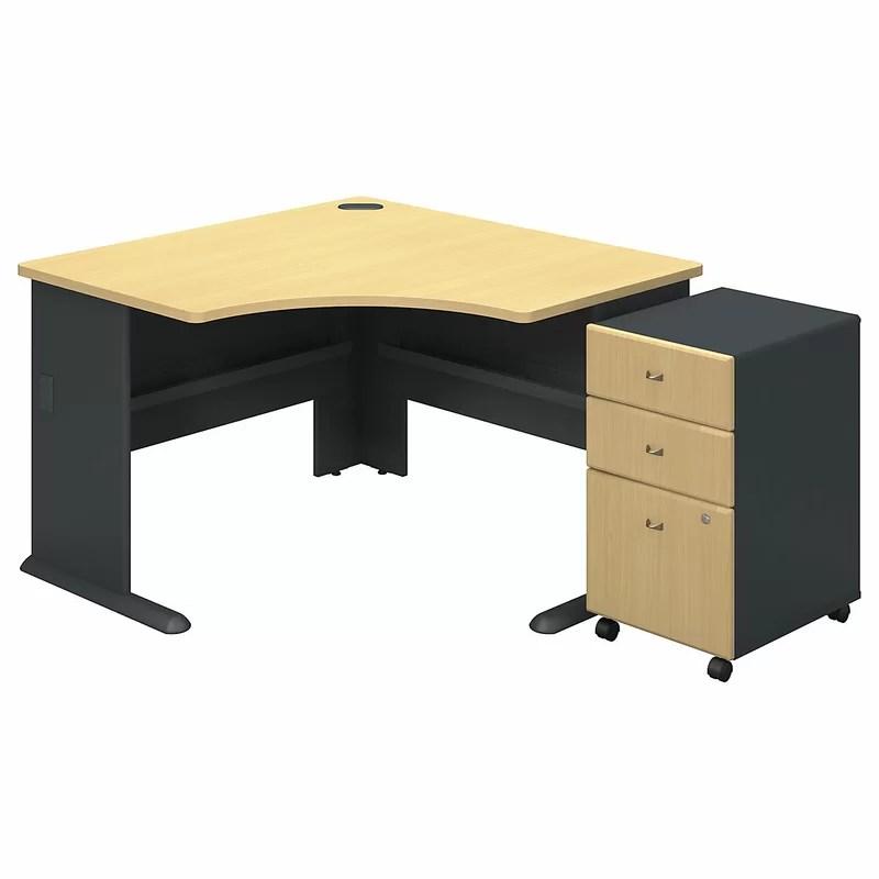 Series A L-Shape Executive Desk with 3 Drawer Mobile Pedestal Color: Beech