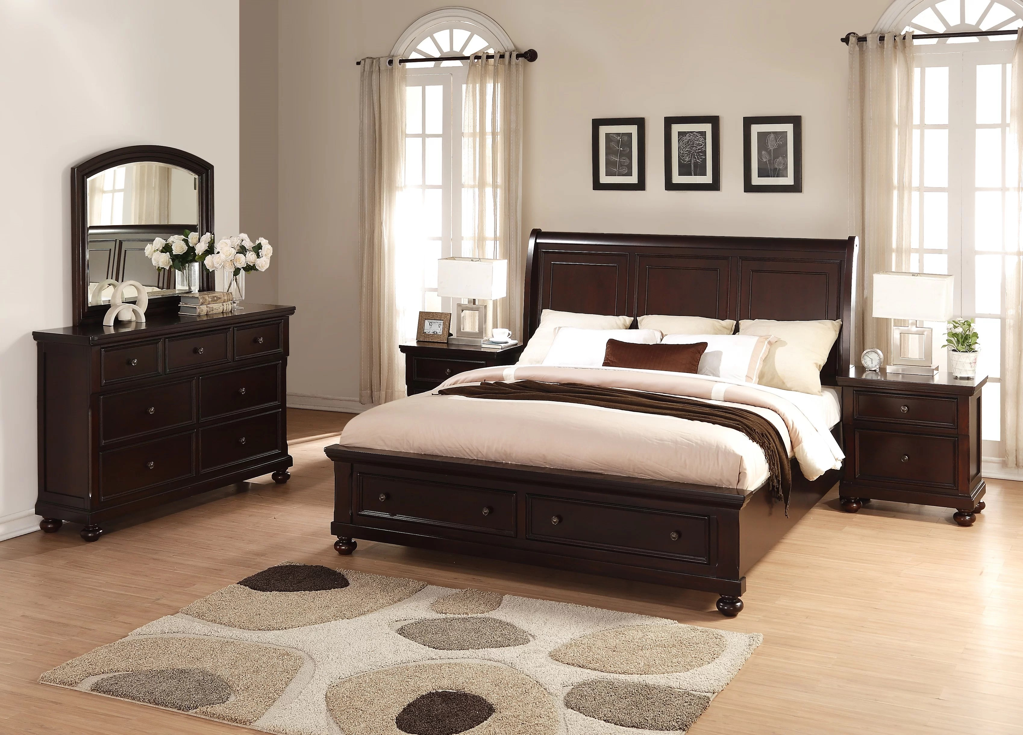 jaimes king platform solid wood 5 piece bedroom set