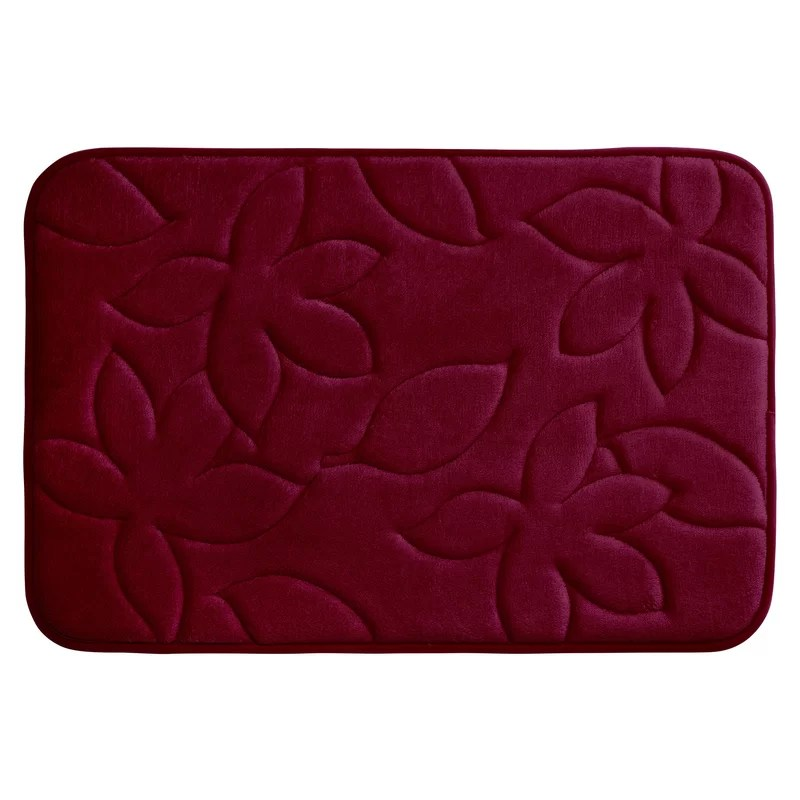 Blowing Leaves Plush Memory Foam Bath Mat Color: Barn Red Size: 17 X 24