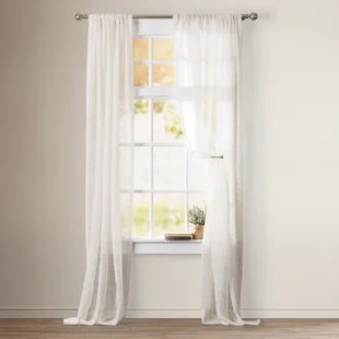 oneman solid color sheer rod pocket single curtain panel