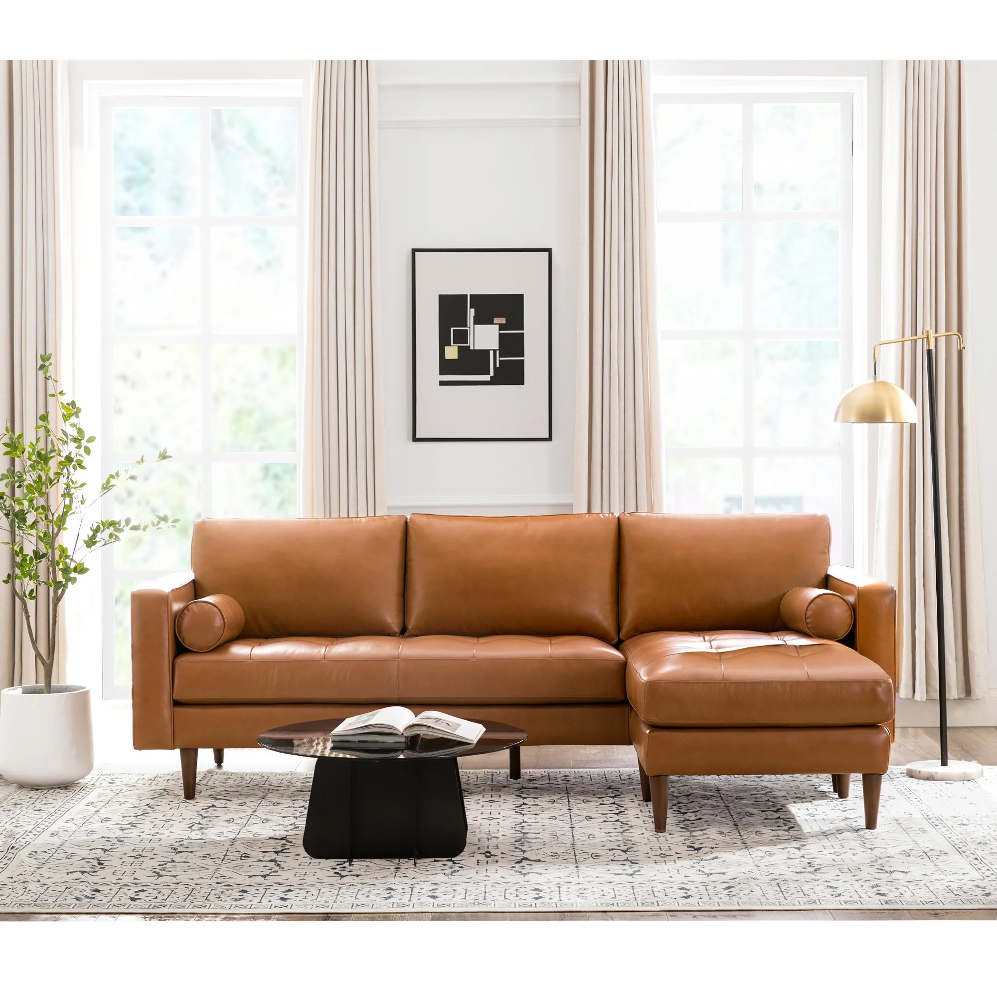 bickford 101 wide genuine leather reversible sofa chaise