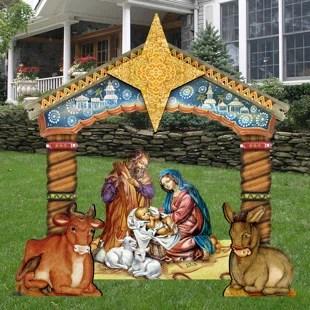10+Piece+Nativity+Free+Standing+Wooden+Garden+Stake+Set