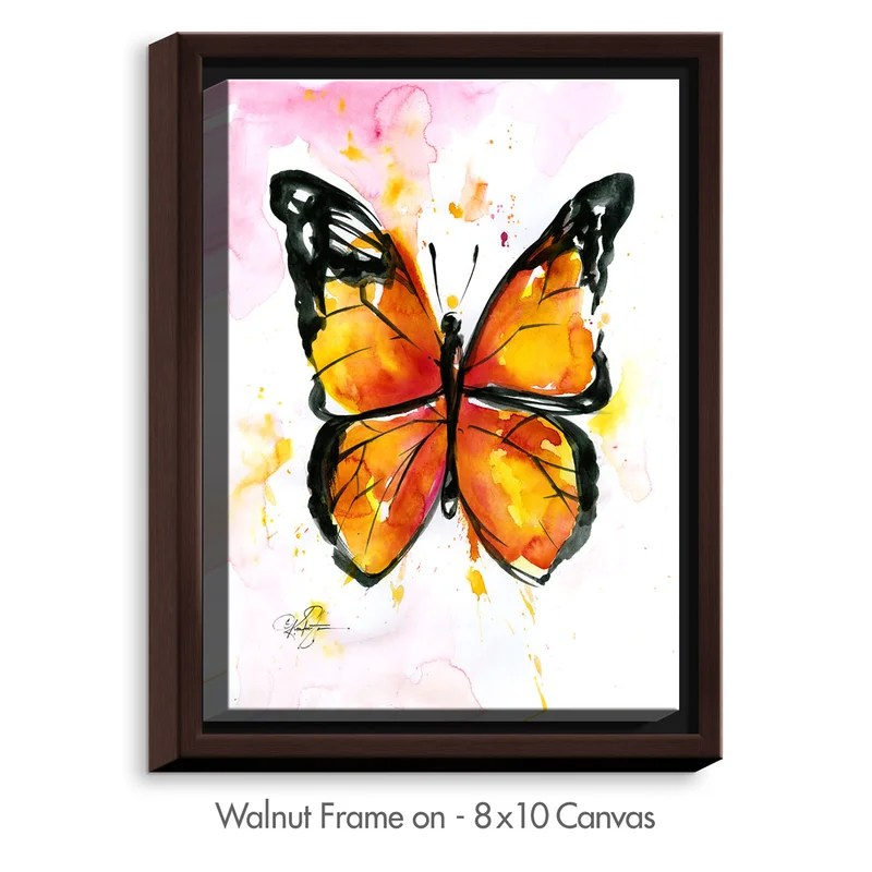 Monarch Butterfly by Kathy Stanion Painting Print on Wrapped Framed Canvas Size: 17.75 H x 13.75 W x 1.75 D Frame Color: Walnut