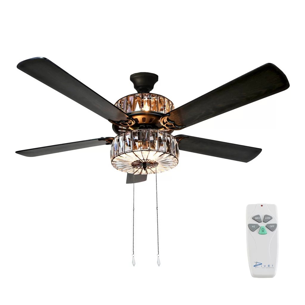 hight resolution of orren ellis 52 njie caged crystal 5 blade ceiling fan with remote light kit included reviews wayfair