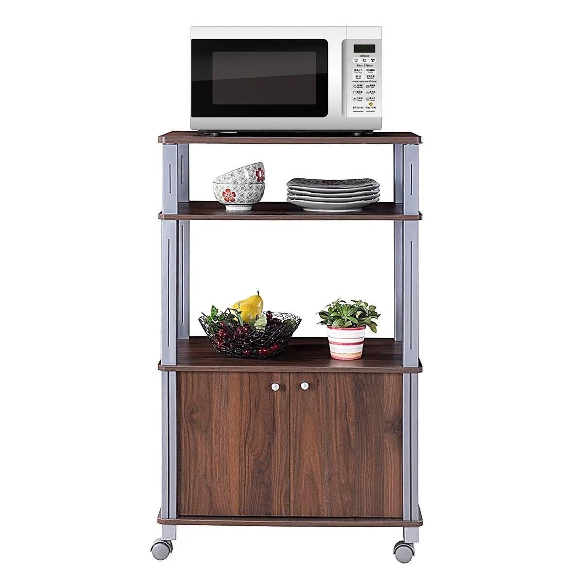eilardt microwave stand storage kitchen cart