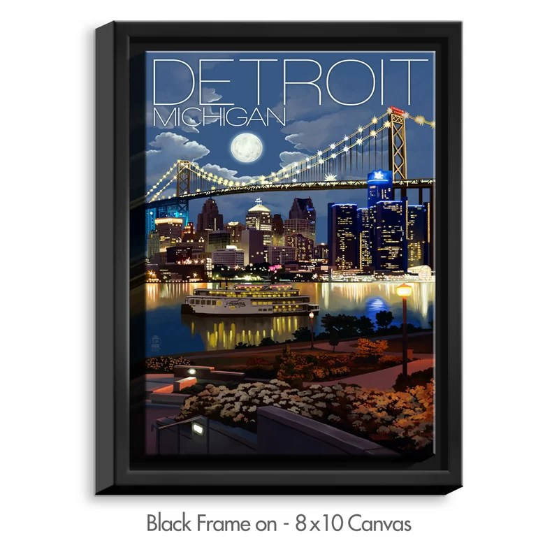 Detroit Michigan Skyline by Lantern Press Painting Print on Wrapped Framed Canvas Size: 21.75 H x 17.75 W x 1.75 D Frame Color: Black