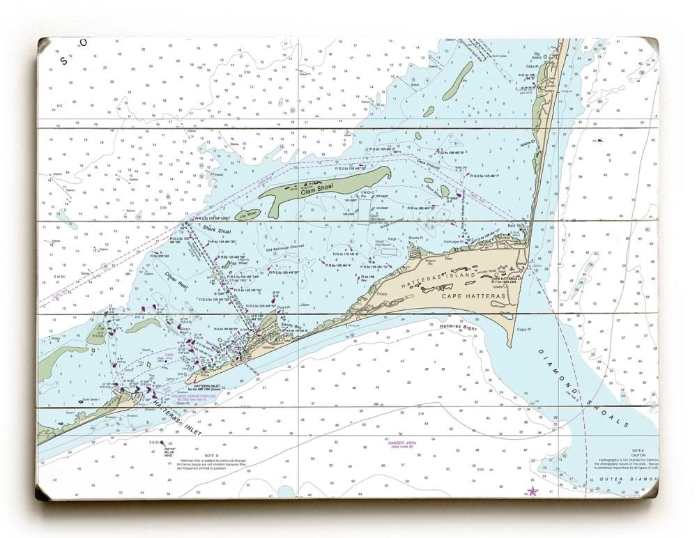 medium resolution of longshore tides nc cape hatteras hatteras inlet nc nautical chart sign graphic art print on wood wayfair