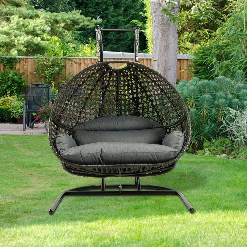 double seats round shape egg hanging chair patio swings black
