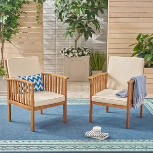wicker patio chair set of 2 covers wedding south wales chairs wayfair crosby outdoor with cushions