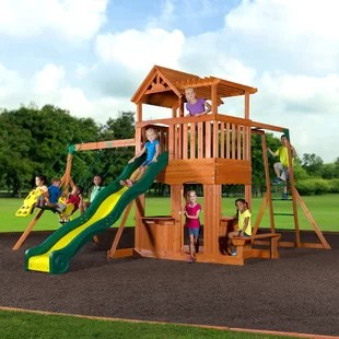 wooden swing sets you