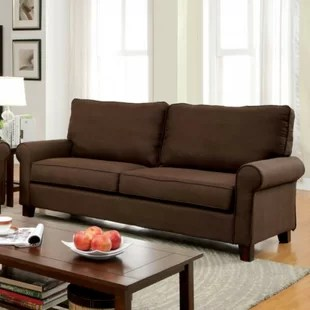brown fabric sofa navy cover wayfair ca hani flax