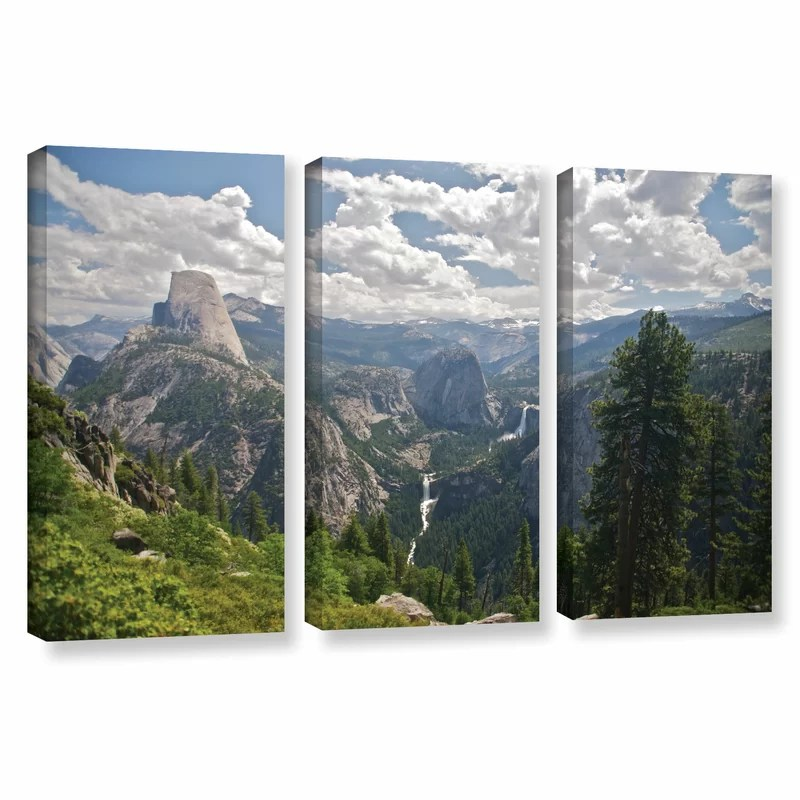Yosemite-Half Dome Vernal Falls And Nevada Falls by Dan Wilson 3 Piece Photographic Print on Wrapped Canvas Set