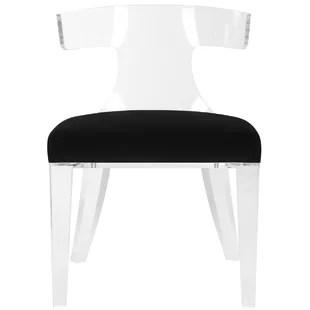 acrylic side chair with cushion karlstad armchair slipcover lucite wayfair sana