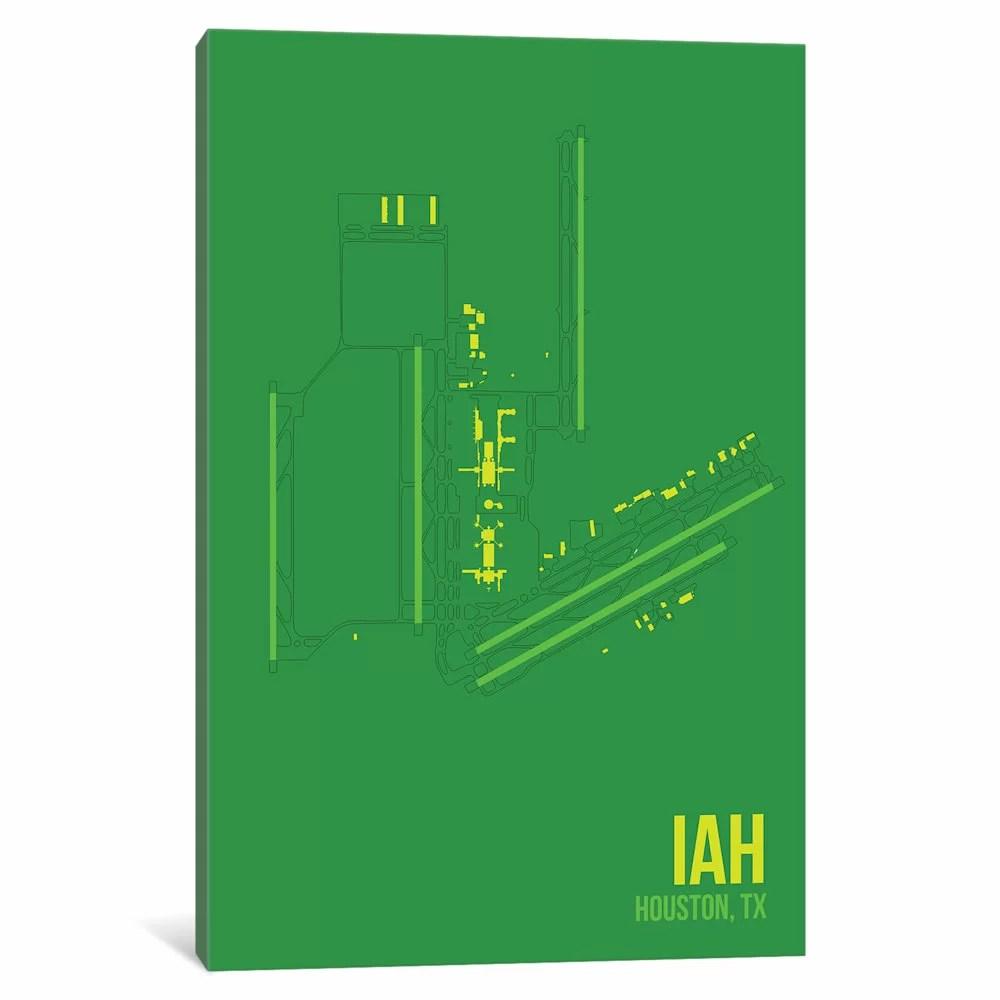 hight resolution of east urban home airport diagram series houston george bush graphic art print on canvas wayfair ca