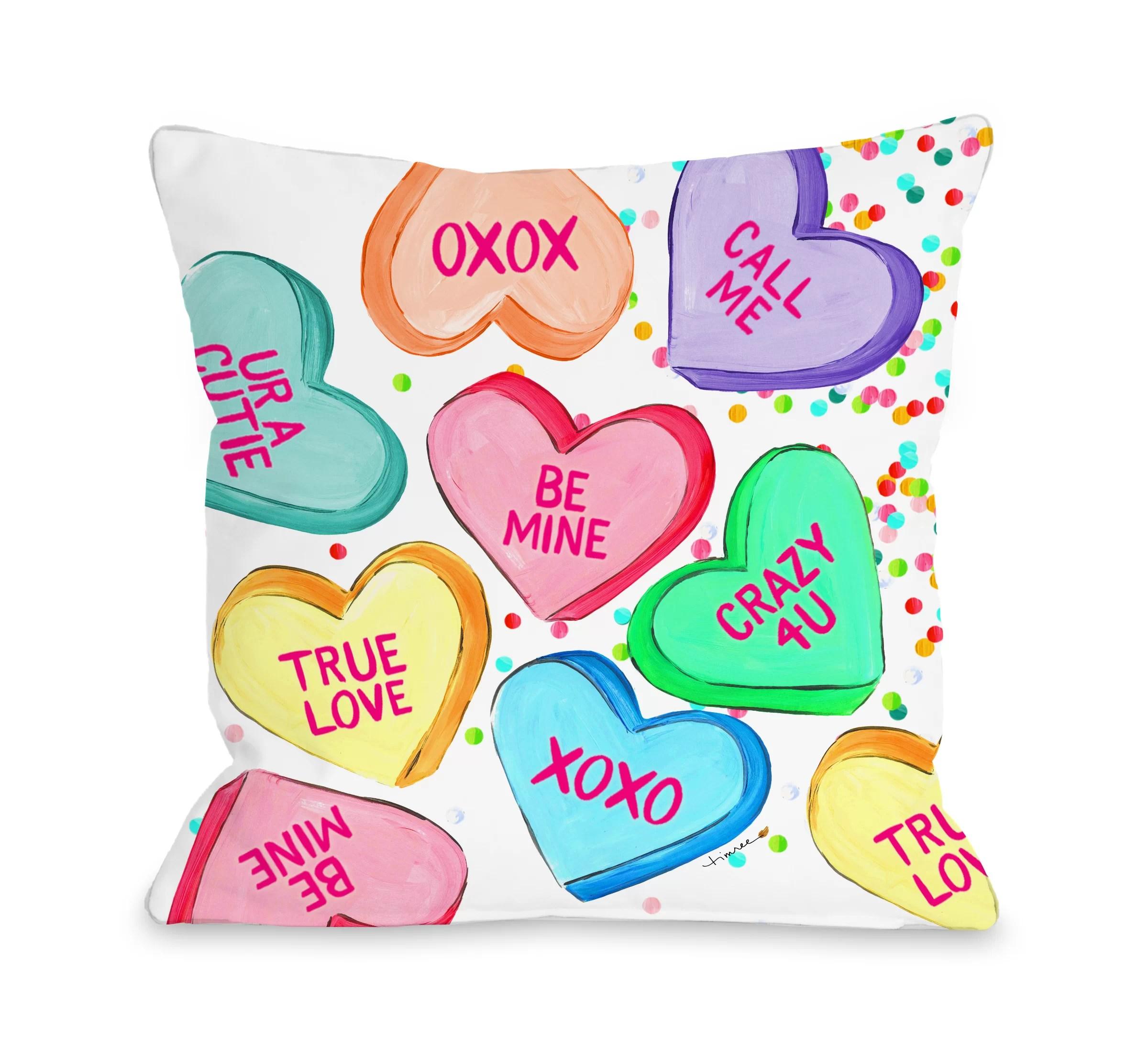 mesut conversation hearts confetti throw pillow
