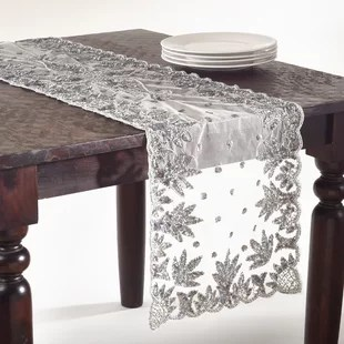 sofa table runners newton chaise convertible bed hand beaded runner wayfair