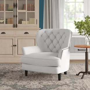 bedroom chair with skirt queen anne recliner covers farmhouse accent chairs birch lane maidenstone armchair