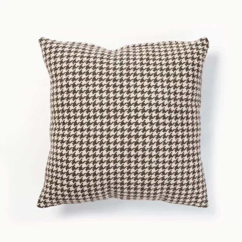Felted Wool Blend Houndstooth Pillow Cover Color: Brown