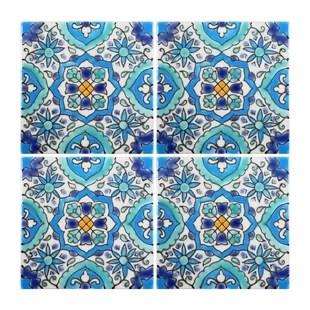 mediterranean 4 x 4 ceramic utica decorative tile in blue