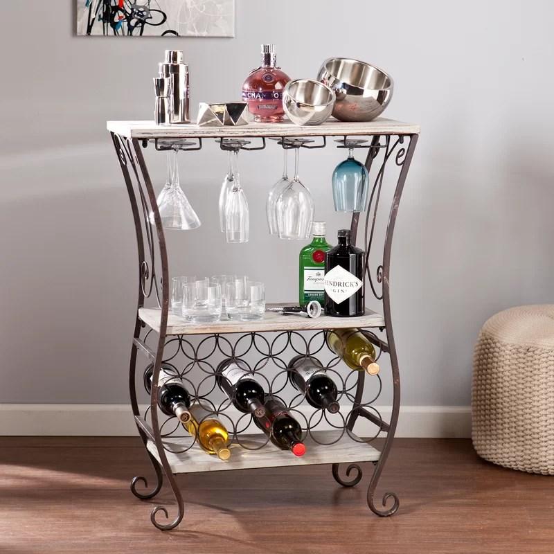 arsenio 18 bottle floor wine bottle and glass rack