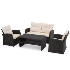 Bakke 4 Piece Rattan Sofa Set with Cushions