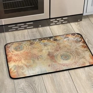 kitchen rugs and mats diy countertops you ll love wayfair willow antiqued blooms mat