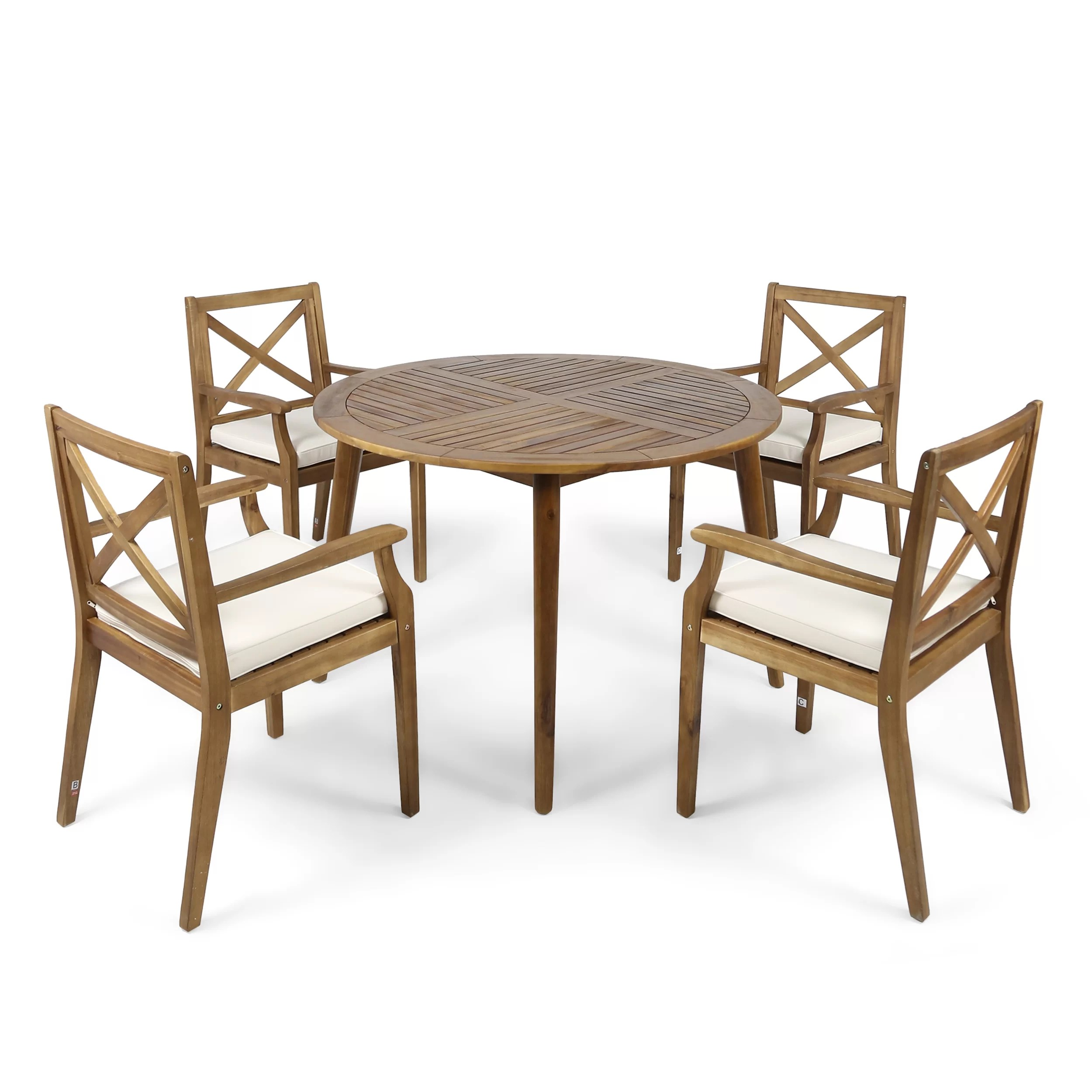 Teak Dining Room Chairs Geneva 5 Piece Teak Dining Set With Cushions
