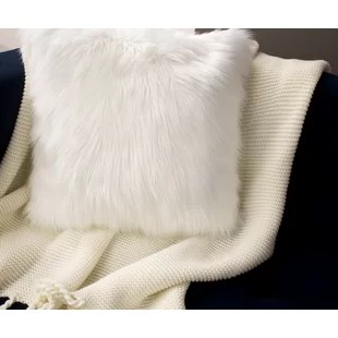faux fur white throw pillows you ll