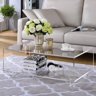 acrylic acrylic coffee tables you'll love | wayfair